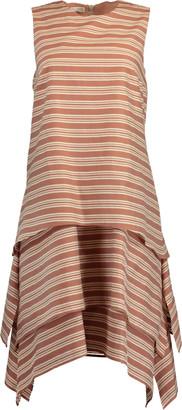 Brunello Cucinelli Striped Crewneck Tiered Dress