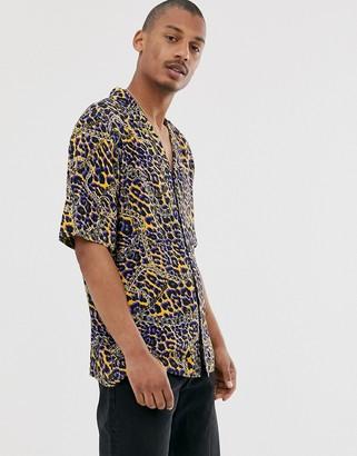 Vintage Supply revere collar shirt in animal chain print