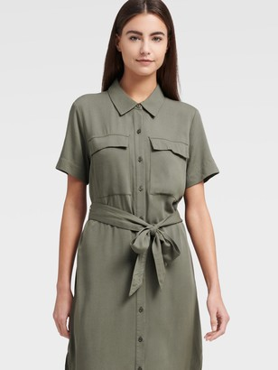 DKNY Women's Short Sleeve Dress With Front Pockets - Army Green - Size XX-Small