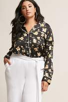 Forever 21 Plus Size Satin Floral Pajama-Inspired Shirt
