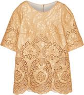 Dolce & Gabbana Metallic guipure lace and brocade top