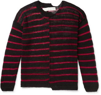 Isabel Benenato Oversized Distressed Striped Linen Sweater