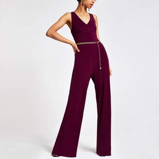 River Island Womens Purple chain belted jumpsuit
