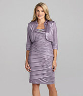 KM Collections Tiered Shimmer Bolero Jacket Dress