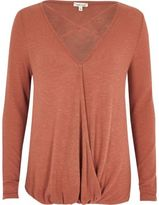 River Island Womens Rust strappy front wrap top
