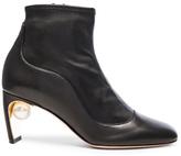 Nicholas Kirkwood Leather Maeva Pearl Booties in Black.