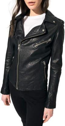 LAMARQUE Kiyoshi Leather Zip-Front Moto Jacket