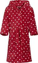 Playshoes Girls' Hooded Long Sleeve Bathrobe - Red -