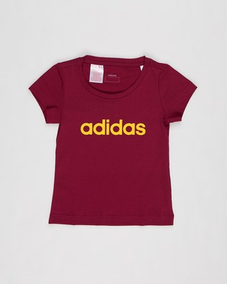 adidas Girl's Red T-Shirts - Essential Linear Tee - Kids-Teens - Size 9-10YRS at The Iconic