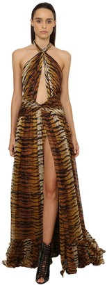 Dundas Printed Georgette Long Dress W/ Cut Outs