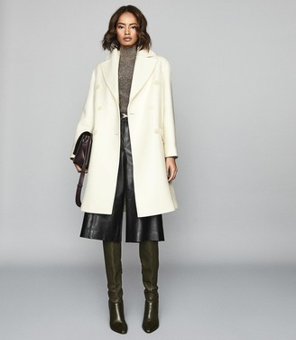 Reiss Alba - Wool Blend Double Breasted Coat in White