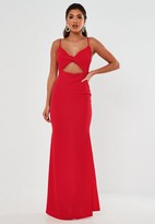Missguided Red Twist Front Cut Out Maxi Dress