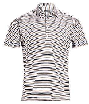Saks Fifth Avenue Multi-Color Stripe Cotton Polo