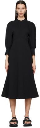Mame Kurogouchi Black Cotton Classic Midi Dress