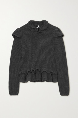 Ganni Open-back Ruffled Ribbed Wool-blend Sweater - Charcoal
