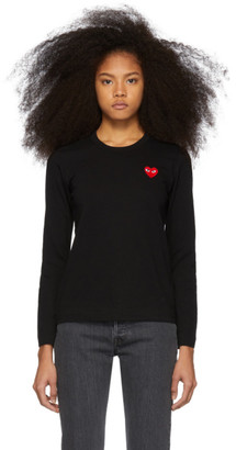 Comme des Garcons Black and Red Heart Patch Long Sleeve T-Shirt
