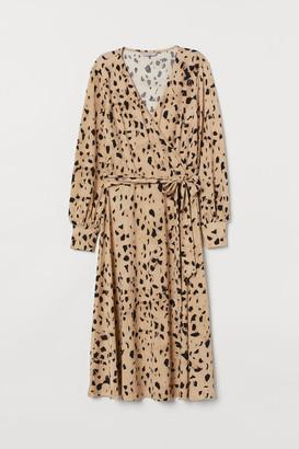 H&M Creped Wrap-front Dress - Beige