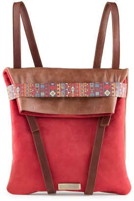 Maria Maleta Backpack Red & Brown Casual