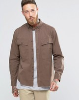 Asos Shacket Military Shirt With Pockets And Raw Hem In Brown