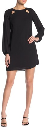 Kensie Tie Back Long Sleeve Shift Dress