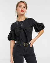 Style Cheat puff sleeve bow tie front detail body in black