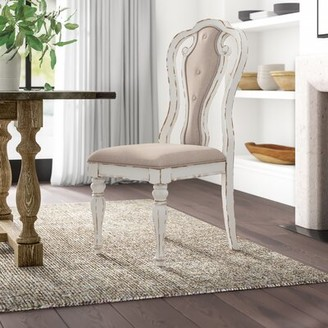 Ophelia & Co. Laramie Upholstered Queen Anne Back Side Chair in White