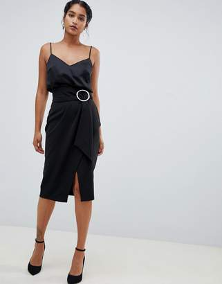 Closet London wrap front midi skirt with buckle detail-Black