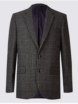 M&S Collection Wool Blend Checked Jacket