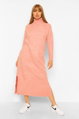boohoo Roll Neck Oversized Knitted Dress