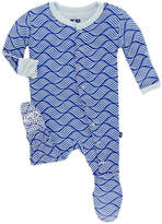 Kickee Pants Blue Print Footie