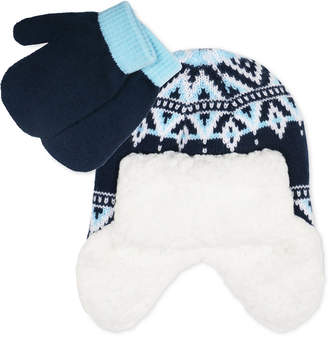 Fab Toddler Boys 2-Pc. Fair Isle Trapper Hat & Colorblocked Mittens Set