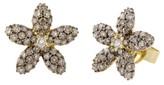 Effy Jewelry Effy 14K Yellow Gold White and Cognac Diamond Flower Earrings, 1.01 TCW