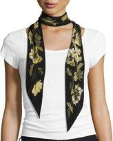 Rockins Floral Super Skinny Silk Scarf, Gold/Black