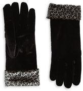 Cejon Velvet Animal Print-Trimmed Gloves
