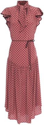 Zimmermann Espionage Flutter Tie-neck Polka-dot Silk Crepe De Chine Midi Dress