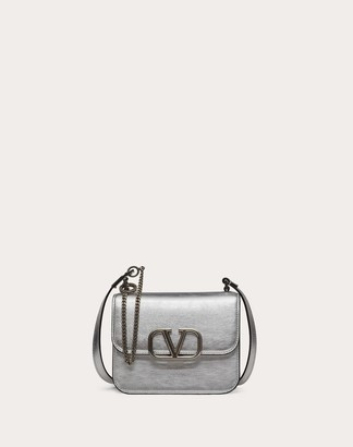 Valentino Small Vsling Metallic Calfskin Shoulder Bag Women Silver Calfskin 100% OneSize