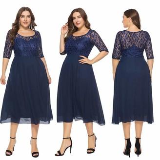 Kalorywee Ladies Dress Sale 2019 Women Solid Oversize Vintage Floral Lace Plus Size Cocktail Formal Swing Dress Navy