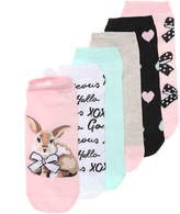 Betsey Johnson Women's Bunny Women's No Show Socks - 6 Pack