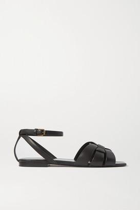 Saint Laurent Nu Pieds Woven Leather Sandals - Black