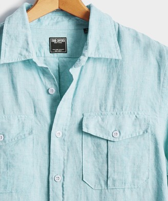 Todd Snyder Italian Two Pocket Linen Safari Long Sleeve Shirt in Teal