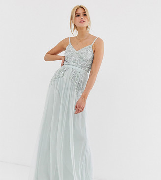 Maya Tall plunge front embellished cami strap maxi dress in ice blue