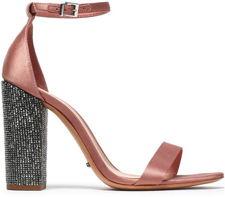 Schutz Crystal-embellished Satin Sandals