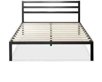 Overstock Full Metal Platform Bed with Headboard and Wood Slats - Pictured