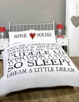 Made With Love Mine and Yours Love Heart Duvet Cover Quilt Bedding Set, White/Black, Double