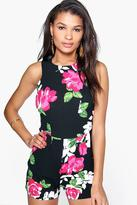 boohoo Monique Floral Print Sleeveless Playsuit