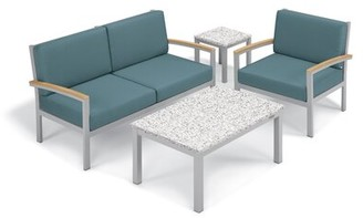 Ash Caspian 4 Piece Sofa Seating Group with Cushions Sol 72 Outdoor Frame Color: Natural, Cushion Color: Ice Blue, Table Top Color