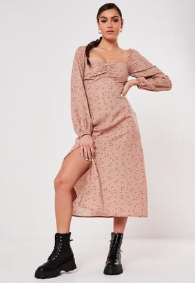 Missguided Blush Floral Shirred Bust Milkmaid Midi Dress