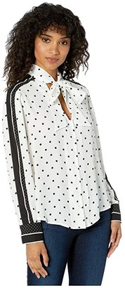 BCBGMAXAZRIA Polka Dot Tie Neck Woven Top (Optic White Large Dots) Women's Clothing