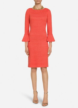 St. John Ribbon Textured Windowpane Bell Sleeve Knit Dress