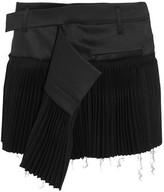 Haider Ackermann Pleated Wool-Blend And Twill Mini Skirt